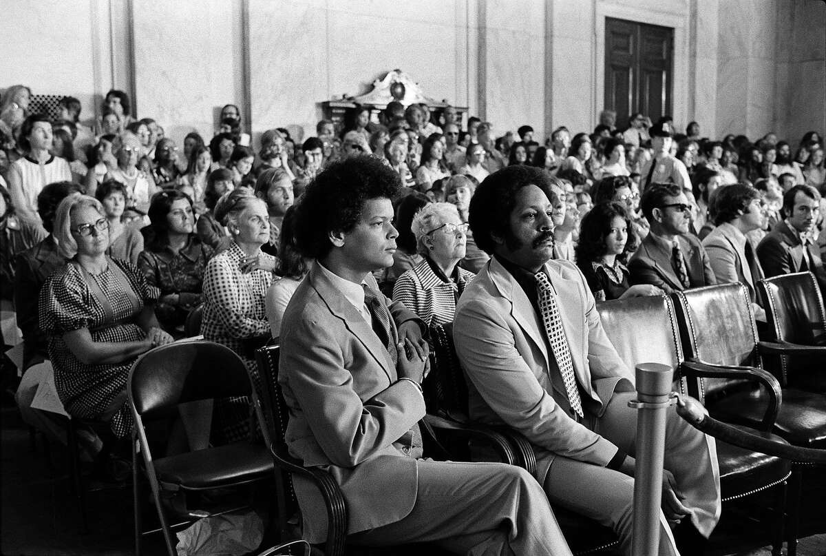 FILE -- Julian Bond, then a member of the Georgia House of Representatives, is seated at left in the front row during a Watergate hearing in Washington on July 17, 1973. Bond, a leading figure of the 1960s civil rights movement and a lightning rod of the anti-Vietnam War campaign, died on Saturday, Aug. 15, 2015. He was 75. (George Tames/The New York Times)