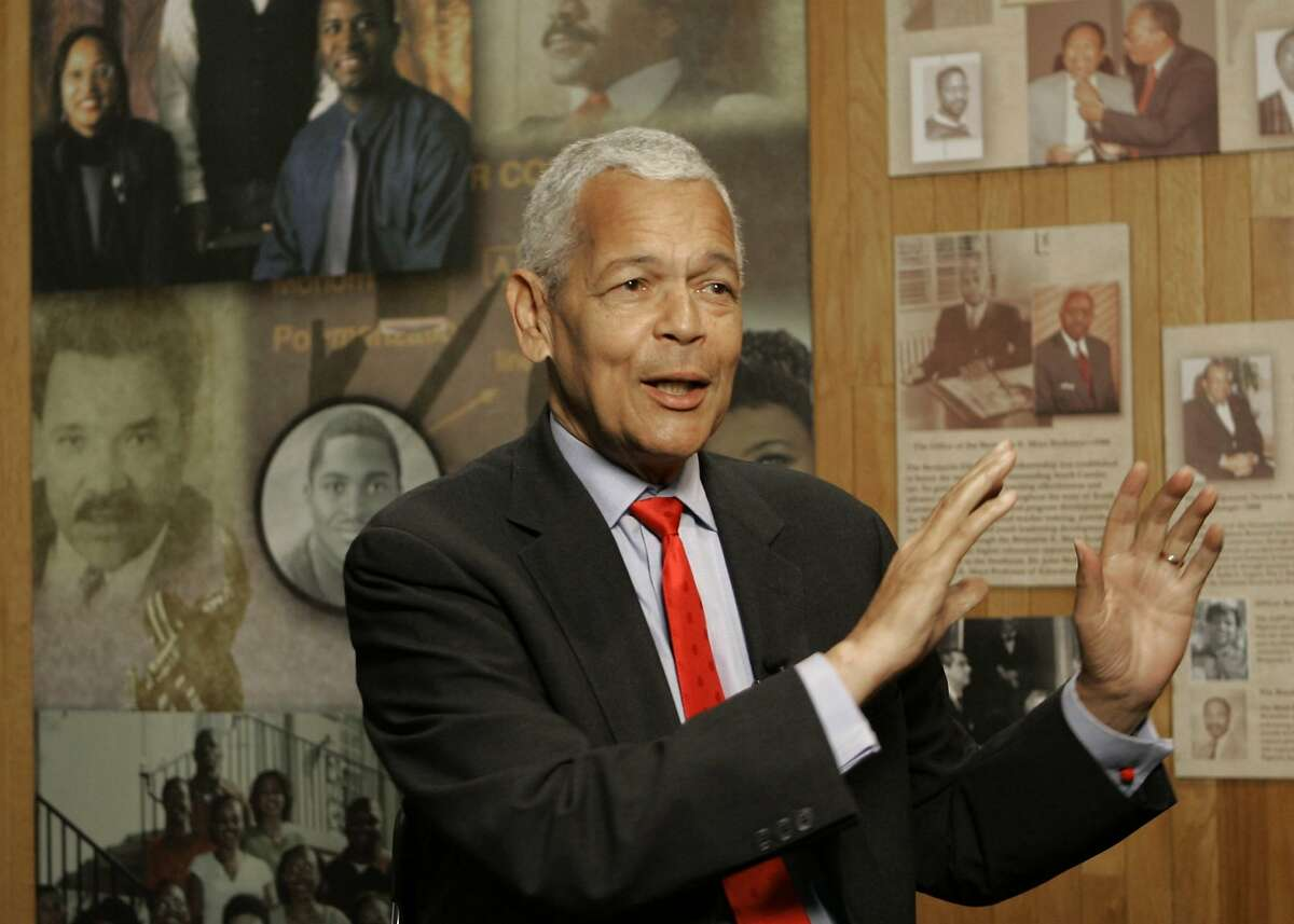 FILE- In this Oct. 13, 2006, file photo, Julian Bond, chairman of the Board for The National Association for the Advancement of Colored People, gestures as he talk to the media about the organization at The University of South Carolina in Columbia, S.C. Bond, a civil rights activist and longtime board chairman of the NAACP, died Saturday, Aug. 15, 2015, according to the Southern Poverty Law Center. He was 75. (AP Photo/Mary Ann Chastain, File)
