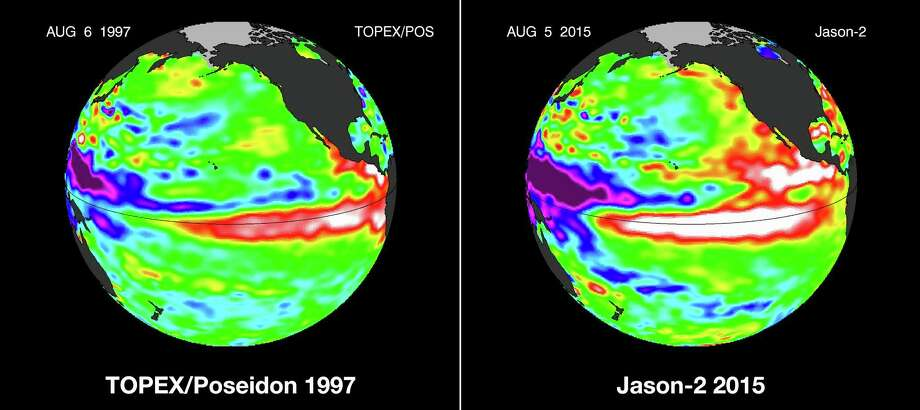 These false-color images provided by NASA satellites compare warm Pacific Ocean water temperatures from the strong El Nino that brought North America large amounts of rainfall in 1997, left, and the current El Nino in August 2015, right. Warmer ocean water that normally stays in the western Pacific, shown as lighter orange, red and white areas, moves east along the equator toward the Americas. Forecasters say this El Nino is already the second strongest on record for this time of year and could be one of the most potent weather changers in 65 years. Ten signs that there may be an El Niño this year: Photo: AP  / NASA