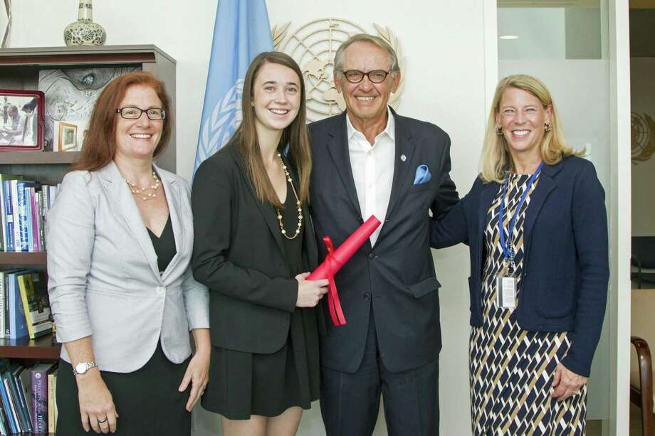 Virginia Murphy of greenwich and President and CEO of Save the Children-U.S. Carolyn Miles recently went to the United Nations and spoke with Jan Eliasson, Deputy Secretary-General of the U.N. Photo: Contributed / UN Photo/Rick Bajornas / Greenwich Time Contributed