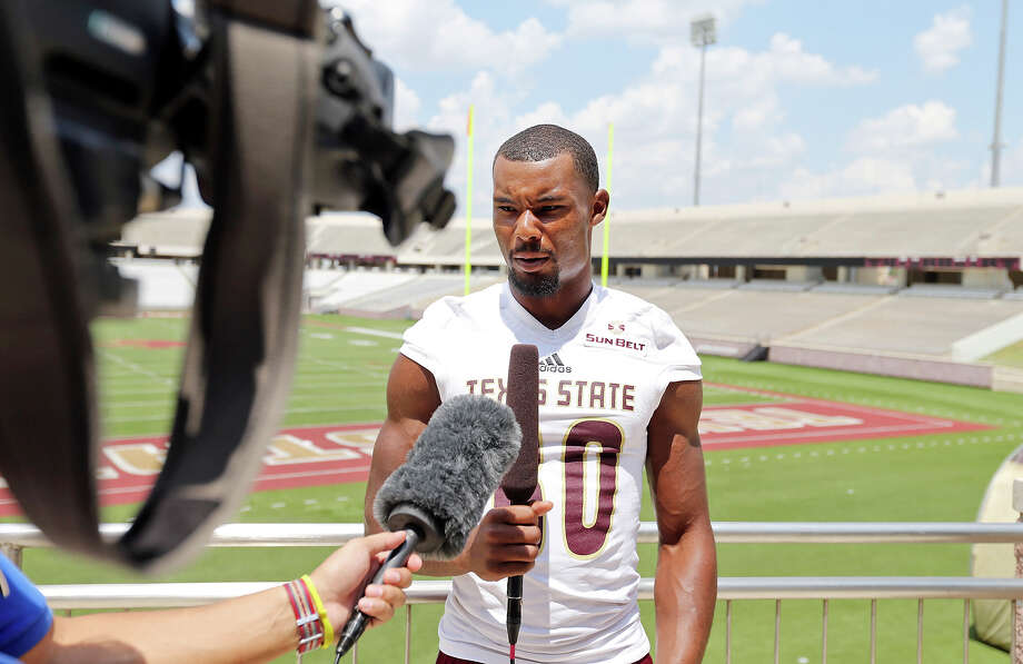Texas State wide receiver Jafus Gaines answers questions from the media during media day held Sunday Aug. 16, 2015 at Bobcat Stadium in San Marcos, Texas. Photo: Edward A. Ornelas, Staff / San Antonio Express-News / © 2015 San Antonio Express-News