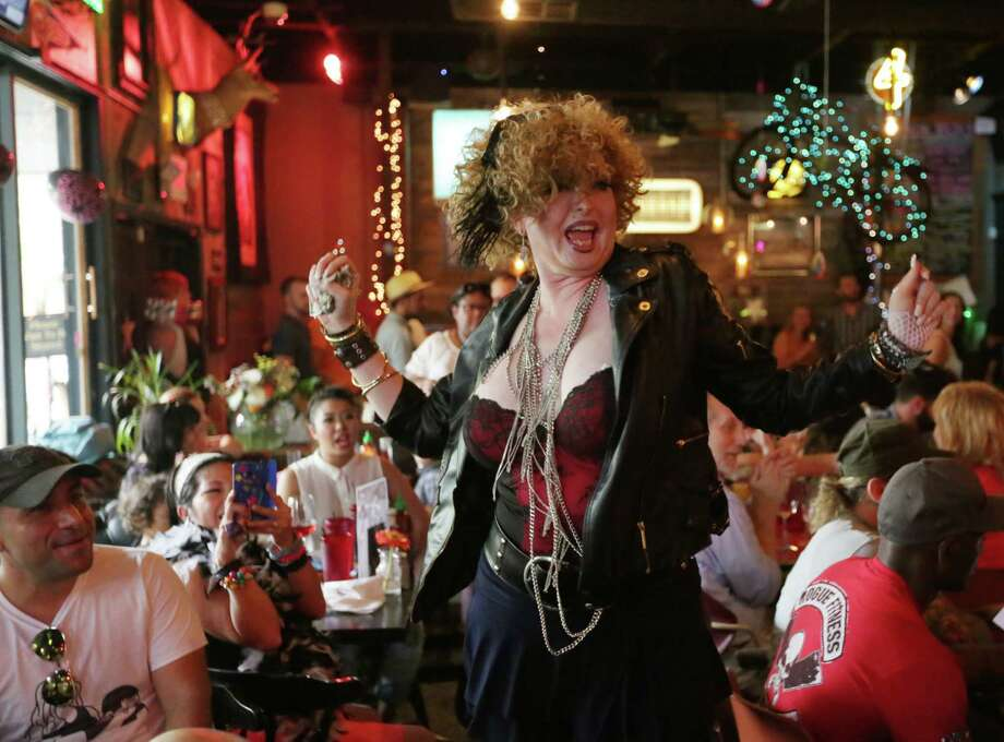 Scenes from Lowbrow's Lowdown Madgesty Birthday Drag BrunchLana Blake performs as Madonna. Photo: Jon Shapley, Houston Chronicle / © 2015 Houston Chronicle