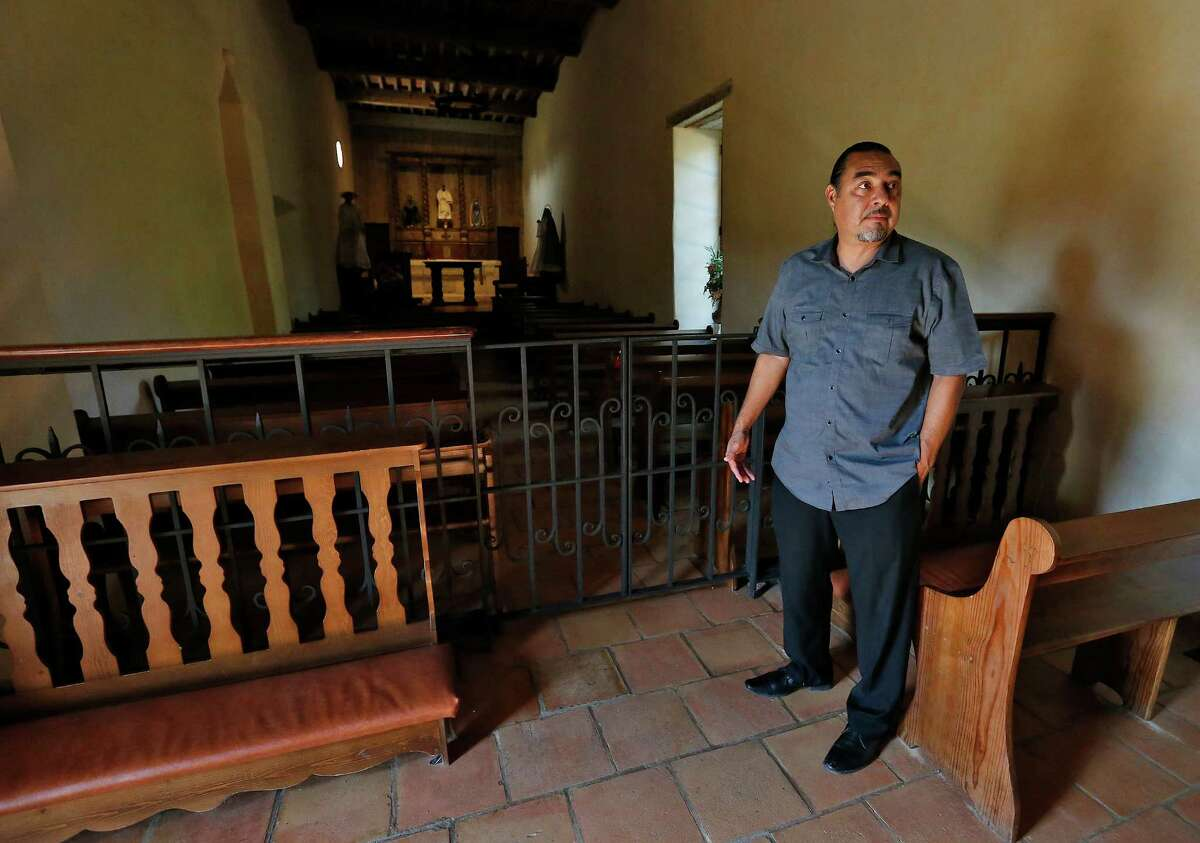 Ramón Vásquez of the American Indians in Texas at the Spanish Colonial Missions visits the chapel at Mission San Juan.