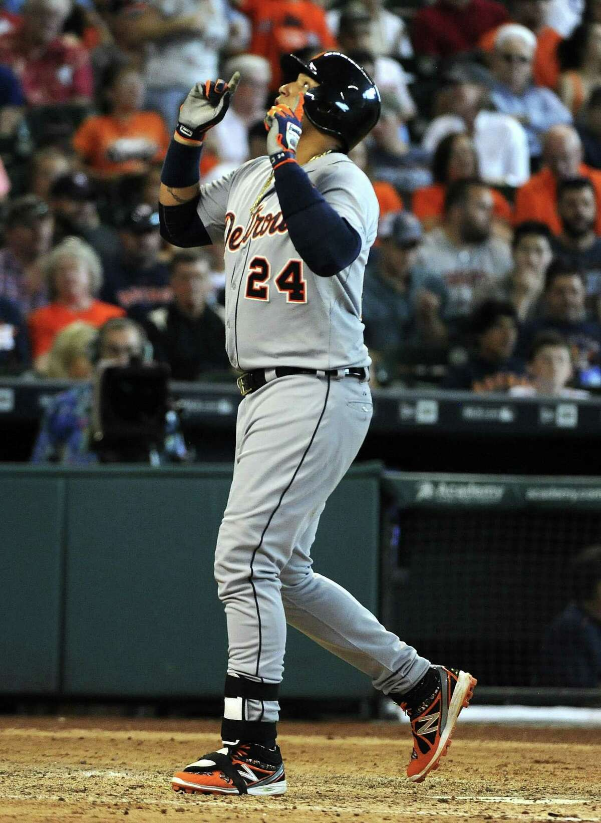 Detroit Tigers' Miguel Cabrera (24) celebrates his two-run home run in the seventh inning of a baseball game against the Houston Astros, Sunday, Aug. 16, 2015, in Houston. (AP Photo/Eric Christian Smith)