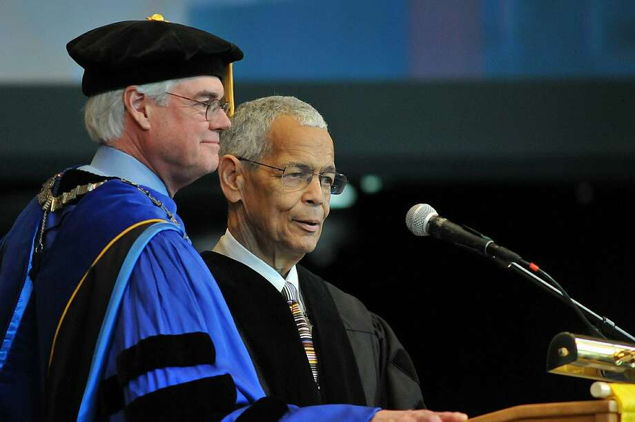 Skidmore President Philip A. Glotzbach and Julian Bond on the Saratoga Performing Arts Center stage May 16, 2015. (Courtesy of Skidmore College.)