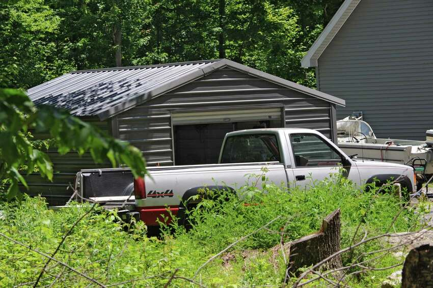 Garage at the home of Glendon Scott Crawford, 49, on Wednesday, June 19, 2013 in Providence, N.Y. Crawford is accused in a federal complaint of developing
