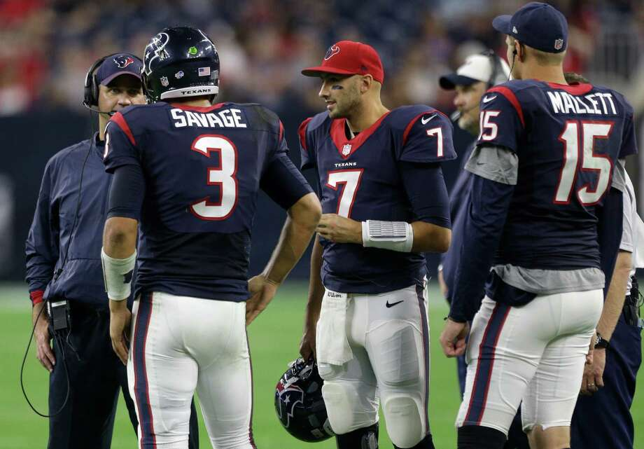 Texans coach Bill O'Brien stands with his QBs Tom Savage (3), Brian Hoyer (7) and Ryan Mallett (15) during the preseason win against the 49ers. Hoyer started, and Mallett will start against the Broncos on Saturday. Photo: Brett Coomer /Houston Chronicle / © 2015  Houston Chronicle