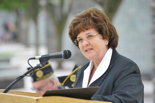 Senator Kathy Marchione addresses those gathered for a Spirit of O45 Ceremony at the Gerald B. H. Solomon Saratoga National Cemetery on Sunday, Aug. 16, 2015, in Schuylerville, N.Y.  The event was held to honor WWII Veterans and the end of WWII.  (Paul Buckowski / Times Union) Photo: PAUL BUCKOWSKI / 00032965A