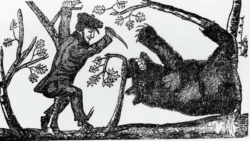 Illustration of Davy Crockett killing a bear, circa 1800s.