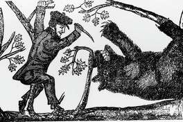 Illustration of Davy Crockett killing a bear, circa 1800s. (Photo by Fotosearch/Getty Images).