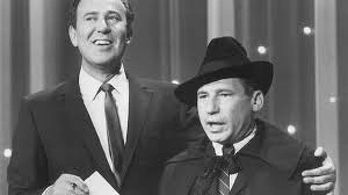 """Mel Brooks and Carl Reiner doing the 2000 Year Old Man sketch on """"The New Steve Allen Show"""" in 1961."""