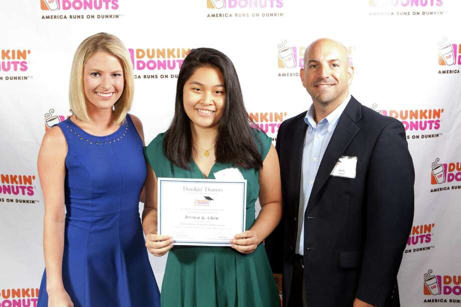 NBC Connecticut's Tara Joyce, Stamford student Jessica Chen and Dunkin' Donuts franchisee Kelly Andrade. Chen was one of four city students to  receive a $1,000 scholarship from Connecticut Dunkin' Donuts franchisees. Photo: Contributed / Contributed / Stamford Advocate Contributed