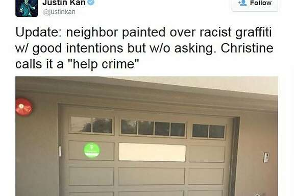 "Justin Kan's tweet of his painted garage door which had a racist graffiti/remark. His tweet says ""Update: neighbor painted over racist graffiti w/ good intentions but w/o asking. Christine calls it a ""help crime"""
