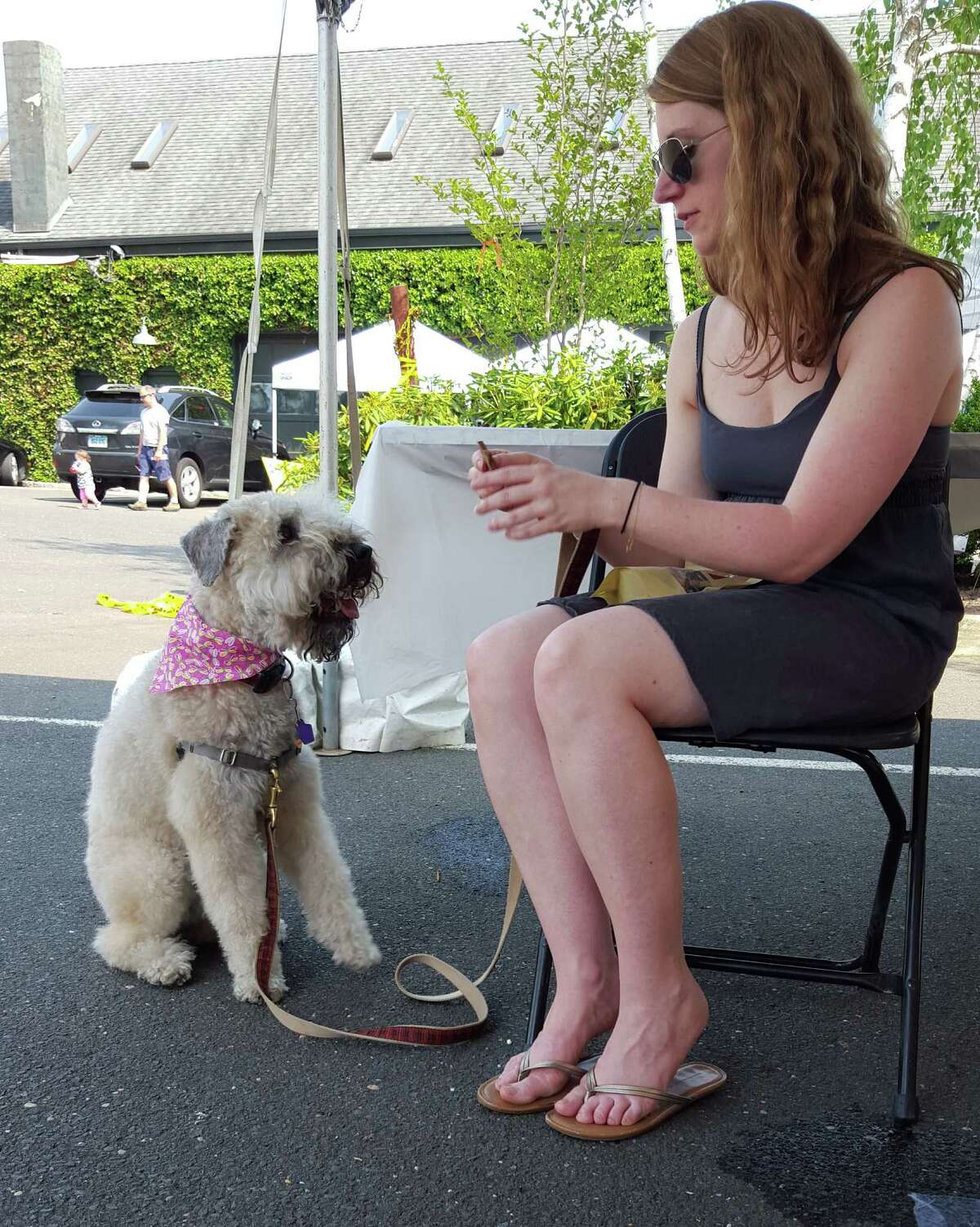 Jessica Calvey with Chloe, for whom Calvey developed a cricket-based, protein dog treat now being sold as Chloe's Treats.