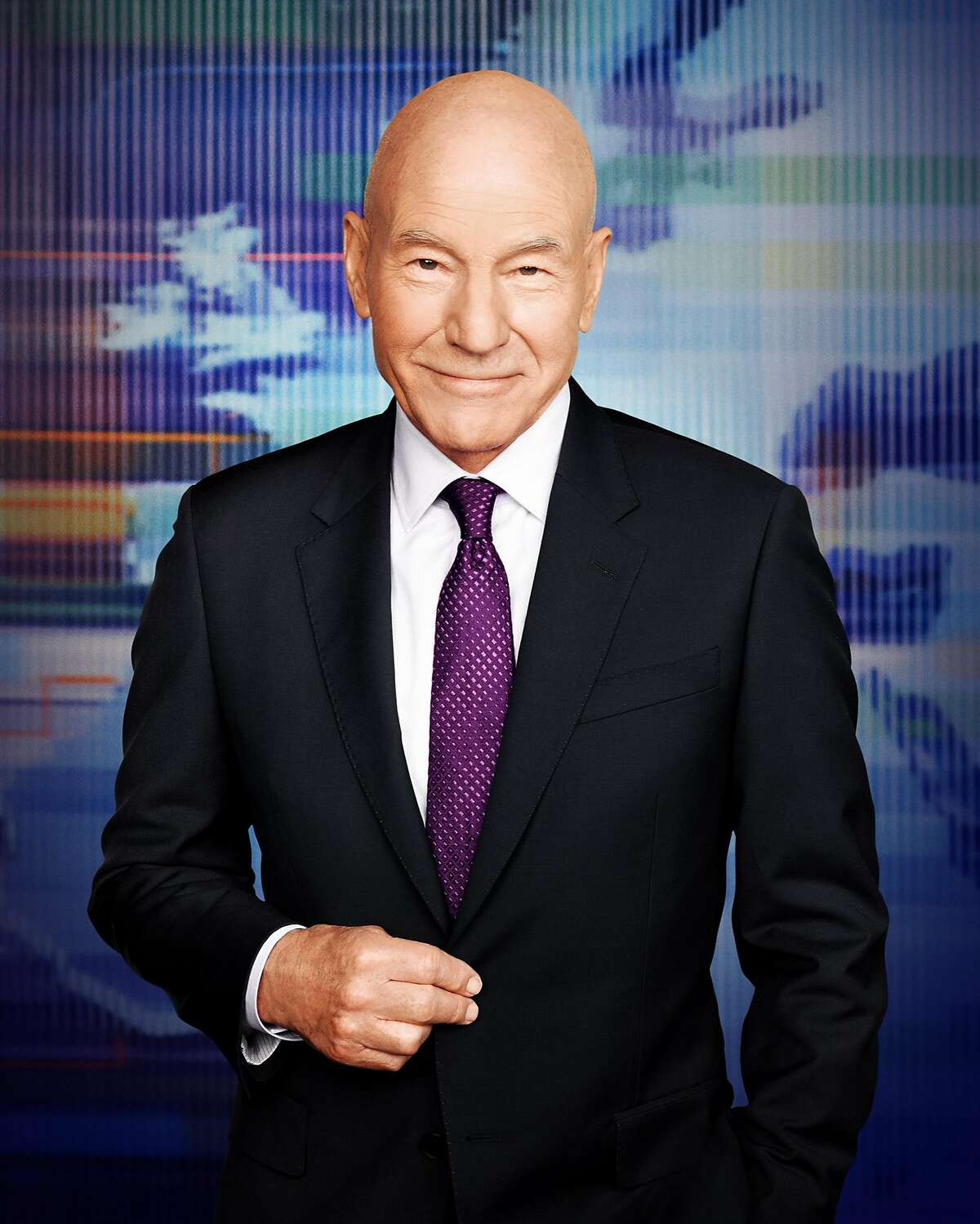 Patrick Stewart is opinionated cable TV newsman Walter Blunt in the new Starz series