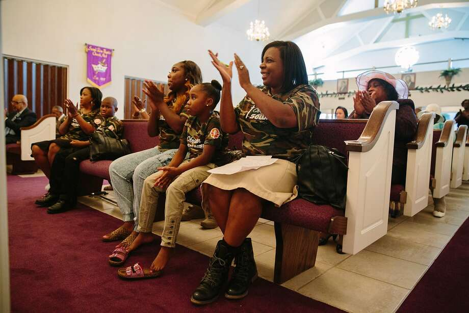 Wanda Davis attends services at Second Zion Baptist Church in New Orleans. She and her husband lived in Texas after Hurricane Katrina, then returned in 2007. Photo: Edmund D. Fountain, Special To The Chronicle