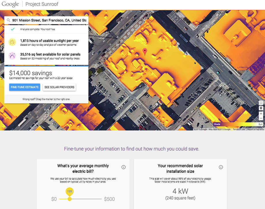 Google announces Project Sunroof, a website which will calculate the amount of sunlight and the cost and savings of installing solar panels for your home. https://www.google.com/get/sunroof