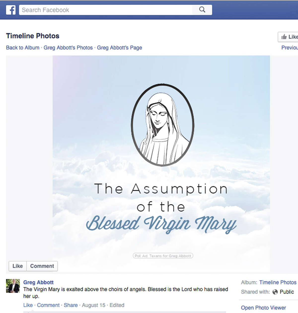Facebook post by Gov. Greg Abbott recognizing the Feast Day of the Assumption of the Blessed Virgin Mary.