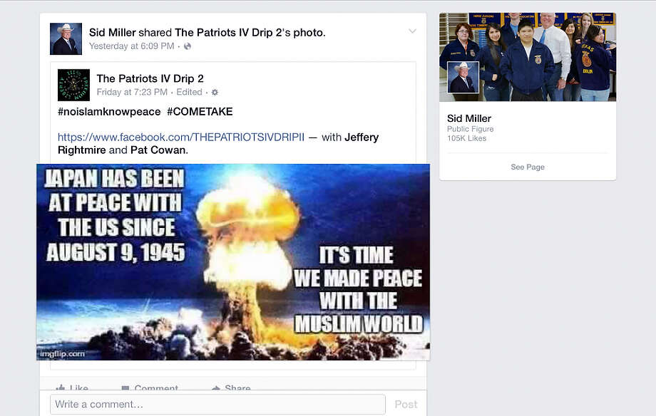 This is a screen shot of Texas Agriculture Commissioner Sid Miller's Facebook page from Aug. 16. A staffer posted the item which was pulled down, but Miller's team also said no apology would be forthcoming. Photo: /FACEBOOK / PULLED FROM SID MILLER'S FACEBOOK PAGE