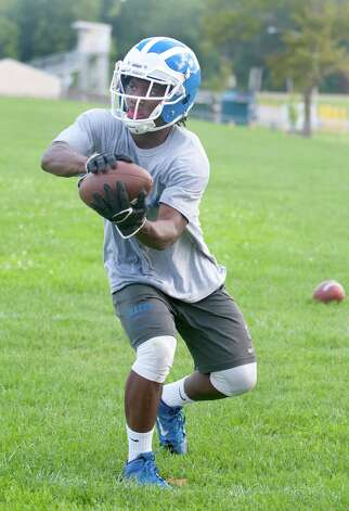 Shaker football player Andrew Bolton practices with his team at Shaker High School on Monday, Aug. 17, 2015 in  Latham, N.Y. (Lori Van Buren / Times Union) Photo: Lori Van Buren / 00033030A