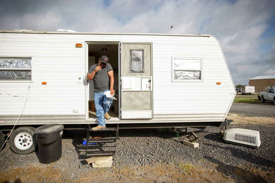 Raymundo Villareal, who says since oil prices have fallen his work hours have been cut in half, at his rented trailer in Kenedy. No place in Texas produces more oil than Karnes County, but suddenly the roaring economy here is cooling fast. Photo: MICHAEL STRAVATO /New York Times / NYTNS