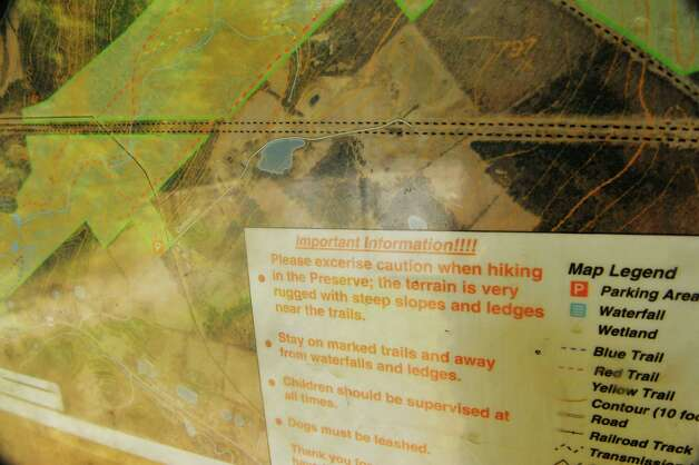 A view of an information board at the trail head at the Plotter Kill Preserve on Monday, Aug. 17, 2015, in Rotterdam, N.Y.  (Paul Buckowski / Times Union) Photo: PAUL BUCKOWSKI / 00033035A