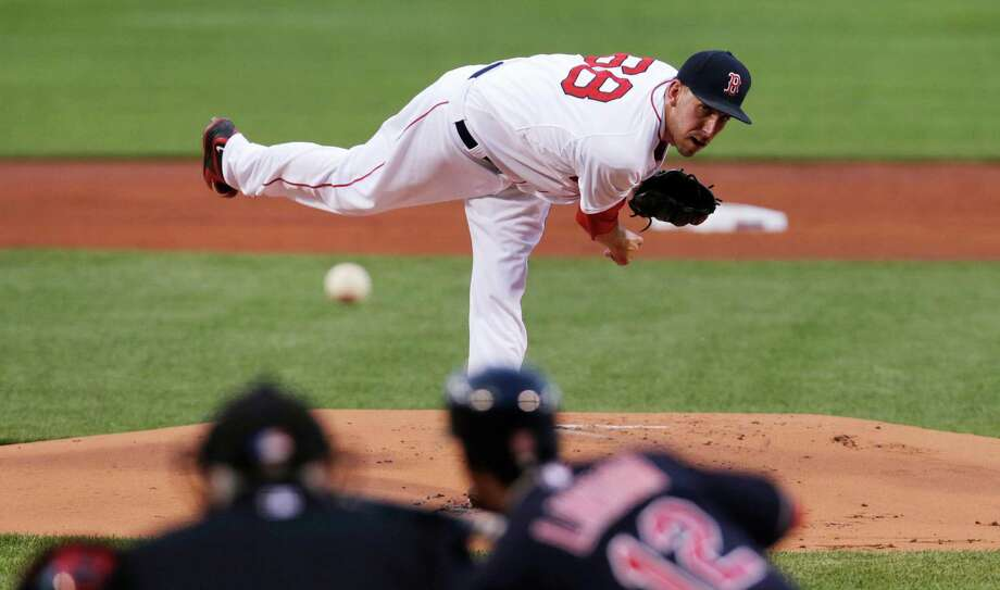 Boston Red Sox starting pitcher Matt Barnes delivers to the Cleveland Indians during the first inning of a baseball game at Fenway Park in Boston, Monday, Aug. 17, 2015. (AP Photo/Charles Krupa) ORG XMIT: MACK102 Photo: Charles Krupa / AP