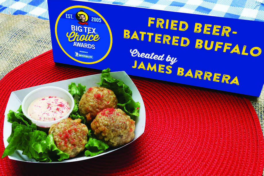 Fried Beer-Battered Buffaloby James BarreraThis dish is lean ground buffalo flavored with a Mesquite smoke and rulled in Pequin chili pepper, crusted in crushed Corn Nuts and dipped in a batter made from Shiner Bock Beer. Photo: State Fair Of Texas