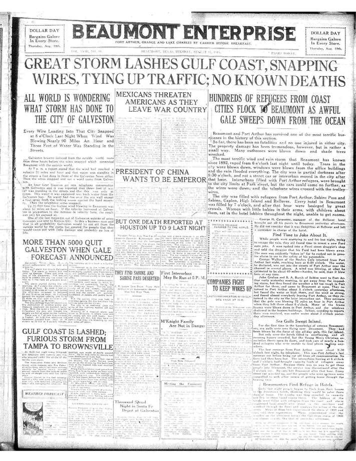 Hurricane Headline from 1915 Photo: Enterprise File