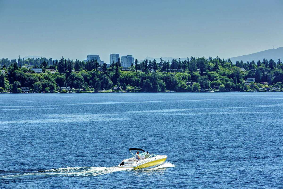 The condo offers expansive views of Lake Washington.