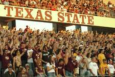 SAN MARCOS, TX - CIRCA 2007:  General view of fans at the Texas State University Bobcats Jim Wacker Field at Bobcat Stadium in San Marcos, Texas.