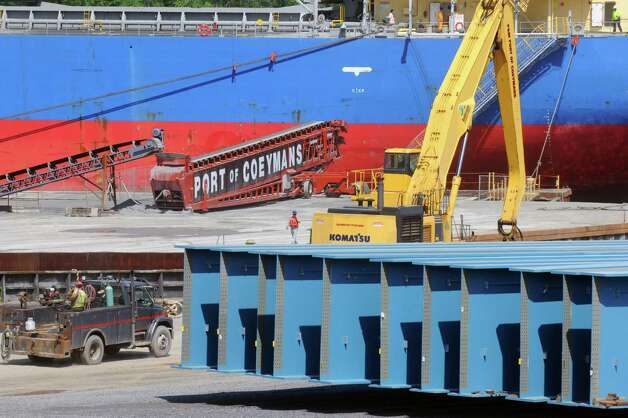 Girders being assembled for new Tappan Zee bridge at Port of Coeymans on Wednesday June 3, 2015 in Coeymans , N.Y. The port's owner is seeking tax breaks for another shipping business that would move in in Dec. 2015.  (Michael P. Farrell/Times Union) Photo: Michael P. Farrell / 00032131A