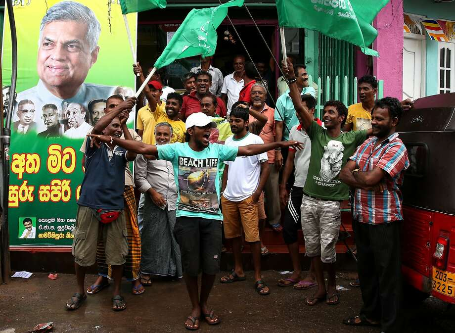 Supporters of the prime minister's Wickremesinghe United National Party celebrate their victory. Photo: Buddhika Weerasinghe, Getty Images