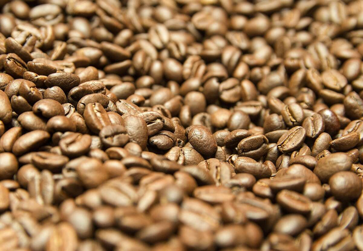 Columbian coffee bean are photographed after the roasting process, at Dan Harrison's workshop.