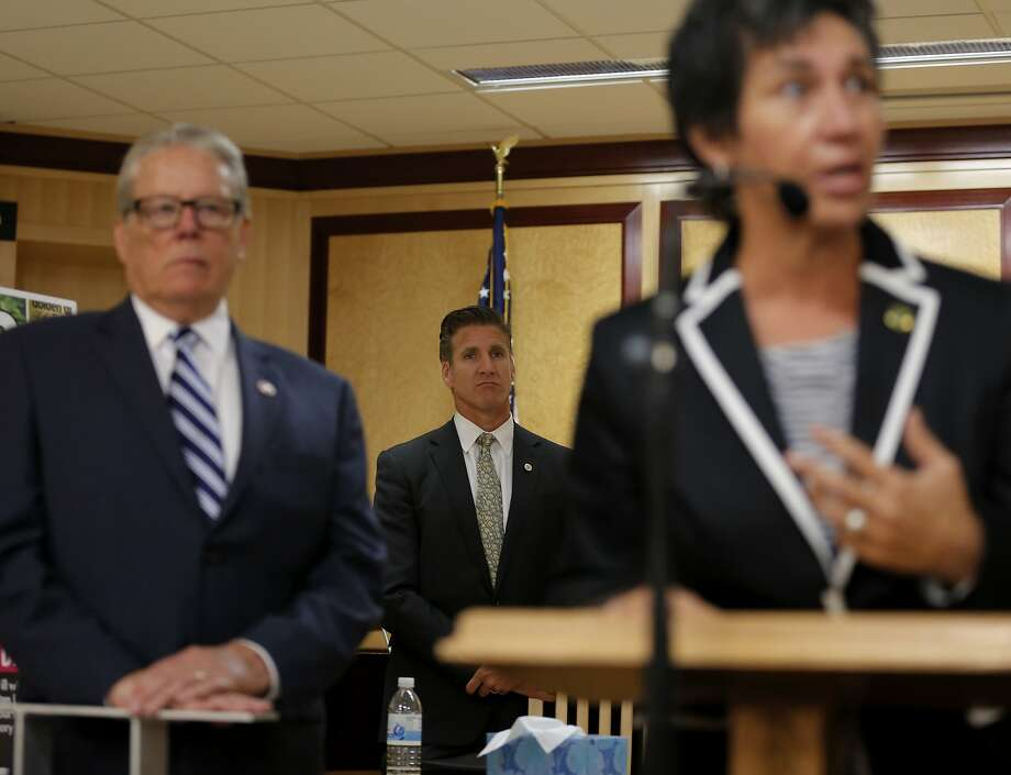 Dan Diaz, Brittany Maynard's husband, (center) and Senator Bill Monning, D-Carmel, listen to Assemblymember Susan Talamantes Eggman answer questions at a news conference on death-with-dignity legislation at the California State Capitol in Sacramento, California, on Tuesday, Aug. 18, 2015. Photo: Connor Radnovich, The Chronicle