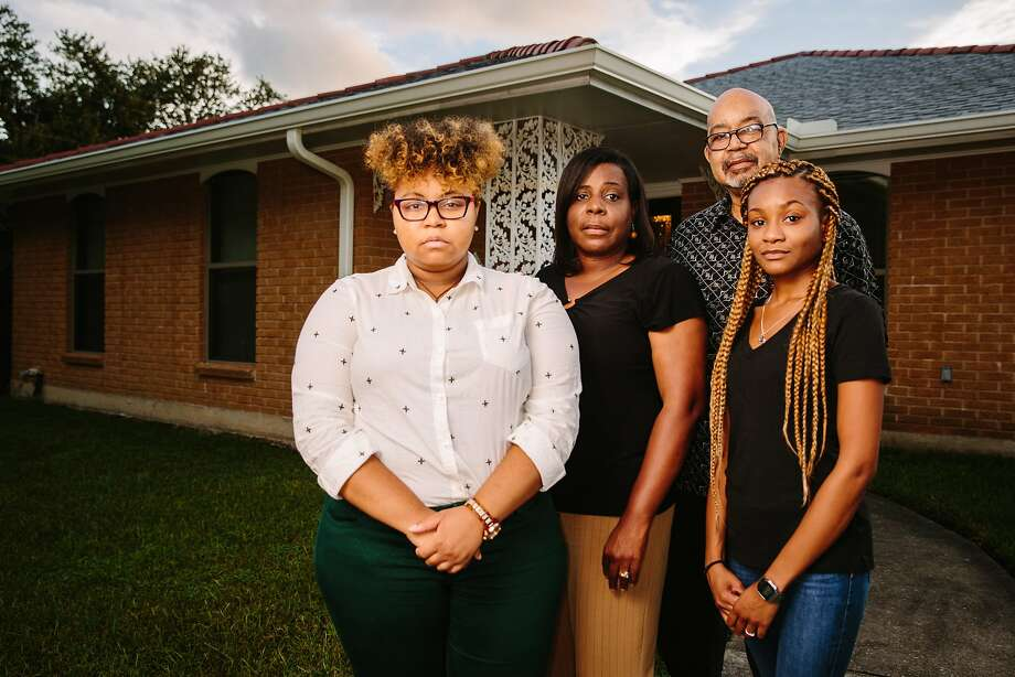 Jayde Davis (left), Wanda Davis, Tyrone Davis and Jasmine Turner at their New Orleans home rebuilt with a federal grant. Photo: Edmund D. Fountain, Special To The Chronicle
