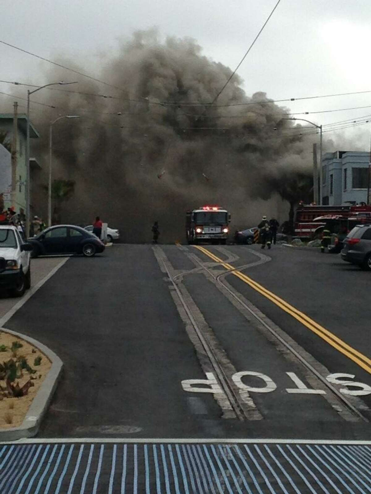 A two-alarm fire broke out at 3633 Taraval St. in San Francisco on August 18, 2015.