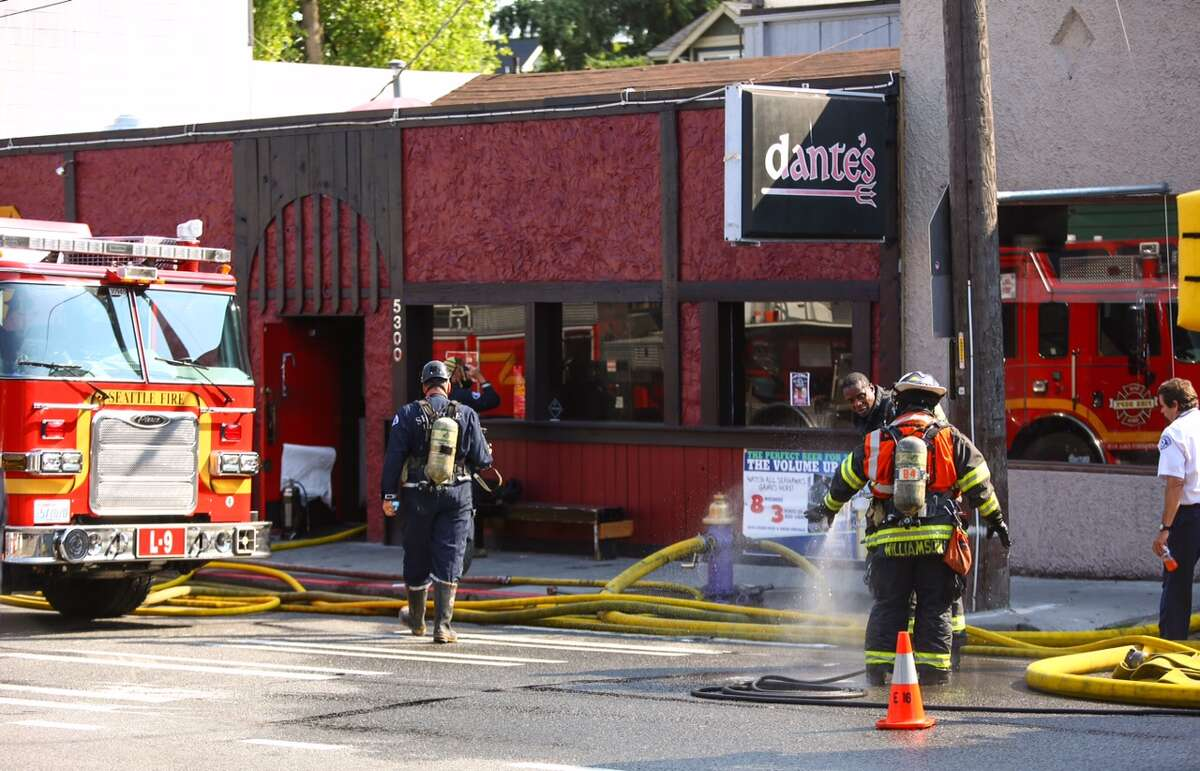A fire erupted at Dante's bar Tuesday morning near the border between the University District and the Roosevelt neighborhood of Seattle. The blaze was caused by overheated electrical wiring in the basement, according to the Seattle Fire Department