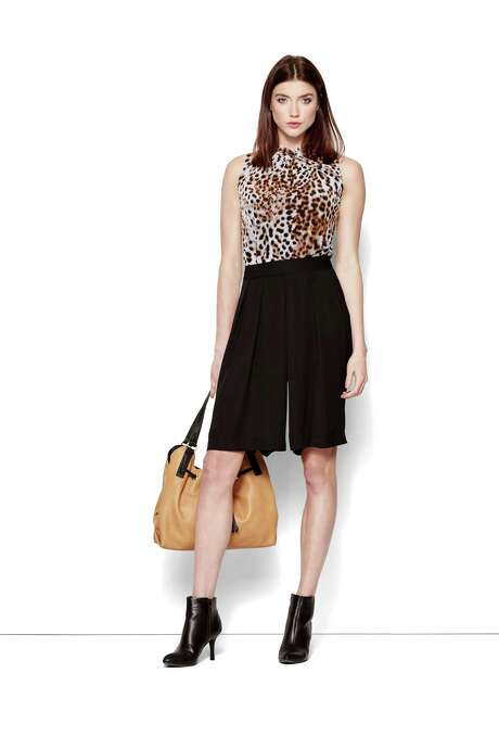 Leopard print top, $30; soft culotte, $36, both by Worthington, JCPenney. Photo: Courtesy JCPenney / San Antonio Express-News
