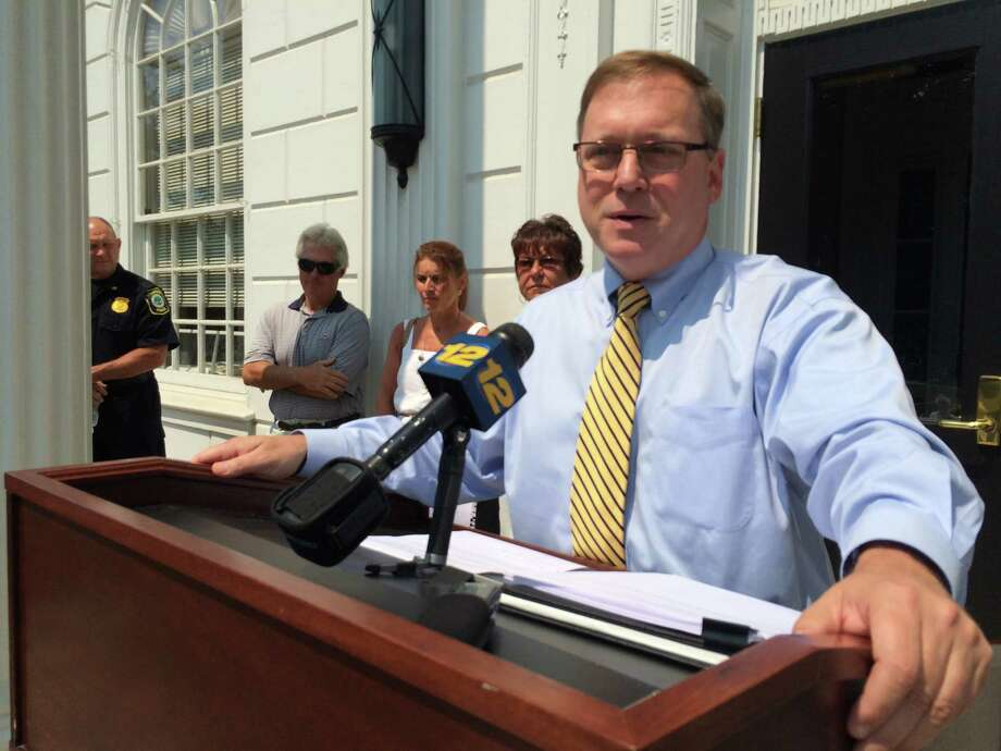 """Mayor John Harkins on Tuesday, August 18, 2015, at Stratford Town Hall, said that a major DOT economic development study confirms what he's been saying — that building the two """"missing"""" Exit 33 ramps would benefit both communities. Photo: John Burgeson /Connecticut Post / Connecticut Post"""