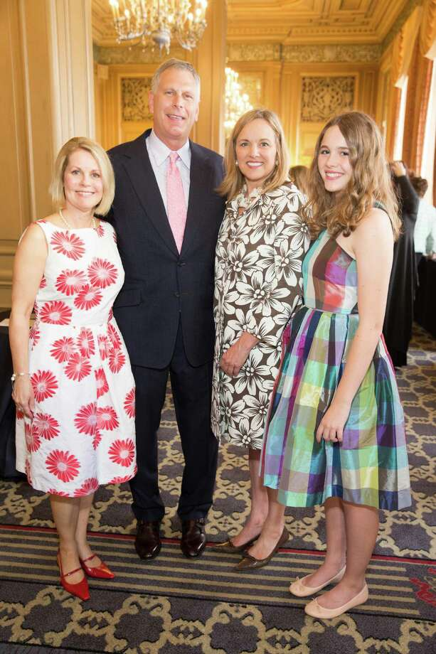 Leslie Bauer, Ernst Bauer, Lisa Syne and Ellsey Syne at the Salvation Army Flower Power luncheon on August 5, 2015. Photo: Drew Altizer Photography / © 2015 Drew Altizer Photography