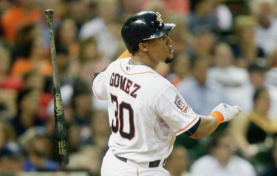 Carlos Gomez of the Houston Astros flies out to deep center in the sixth inning against the Tampa Bay Rays at Minute Maid Park on Aug. 17, 2015 in Houston, Texas. Photo: Bob Levey /Getty Images / 2015 Getty Images