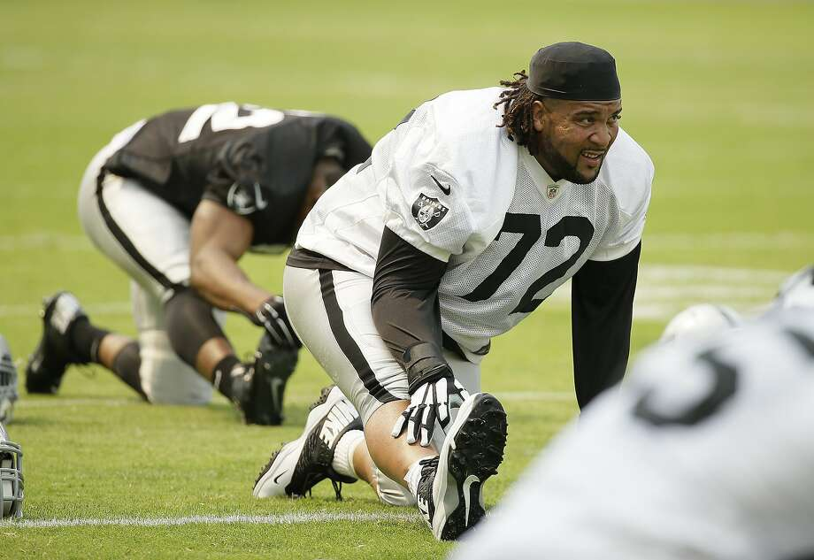 """Tackle Donald Penn is in the last year of his contract, but his agent is talking with general manager Reggie McKenzie about an extension. """"I love it here,"""" Penn says. Photo: Eric Risberg, Associated Press"""