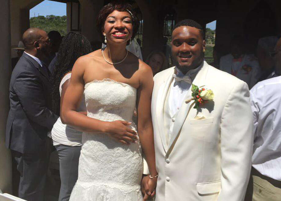 "Defensive tackle Paul Boyette, who is regarded as the team ""Papa Bear"" on the Longhorns' roster just married UT women's basketball player Imani McGee-Stafford. Photo: Courtesy Photo /UT Women's Basketball Twitter"