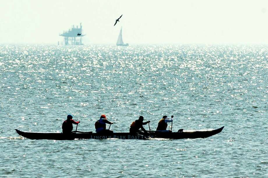 Rowers take to the waters of Galveston Bay. ( Brett Coomer / Houston Chronicle ) Photo: Brett Coomer, Staff / © 2015 Houston Chronicle