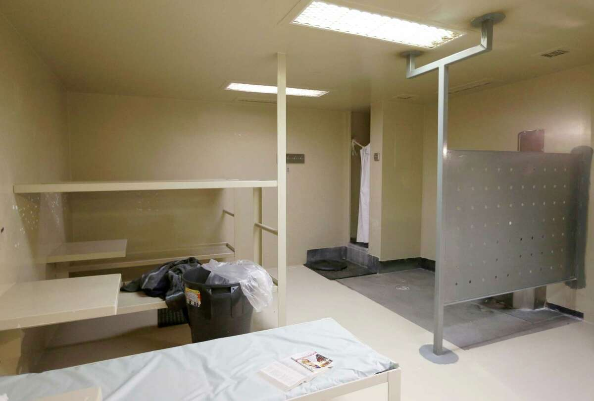 The Waller County jail cell where Sandra Bland was found dead. Officials say Bland hanged herself with a plastic garbage bag; her family disputes that.
