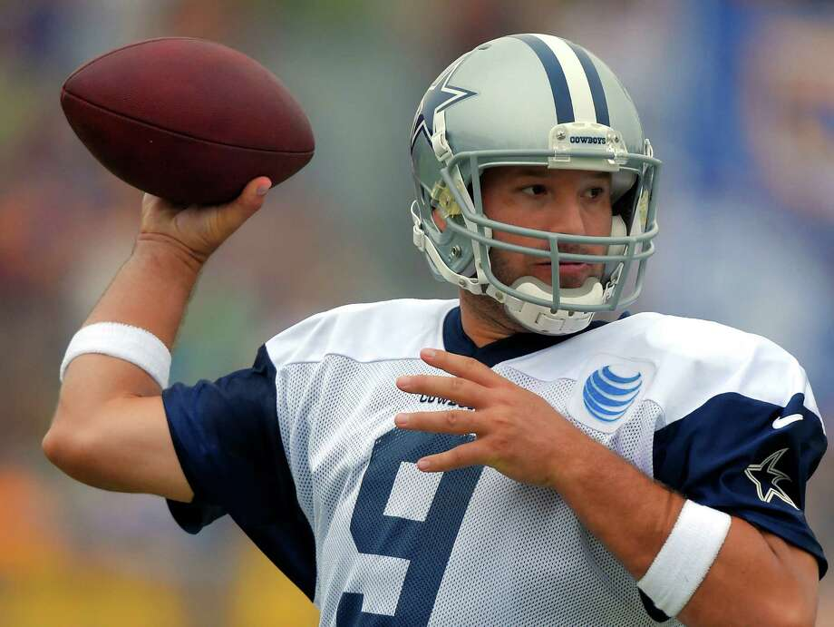 Dallas Cowboys quarterback Tony Romo passes during a joint NFL football training camp with the St. Louis Rams, Monday, Aug. 17, 2015, in Oxnard, Calif. Photo: Mark J. Terrill /Associated Press / AP