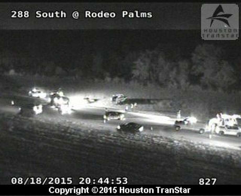TranStar cameras show emergency crews at the scene of the wreck along Texas 288 on Tuesday night. Photo: TranStar