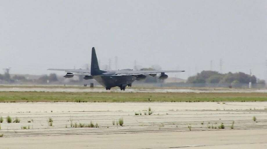 A C-130 takes off from Moffett Field en route to provide assistance to a sailor who fell ill on a ship more than 1,000 miles off the coast of California on Aug, 18, 2015. Photo: Courtesy, 129th Rescue Wing