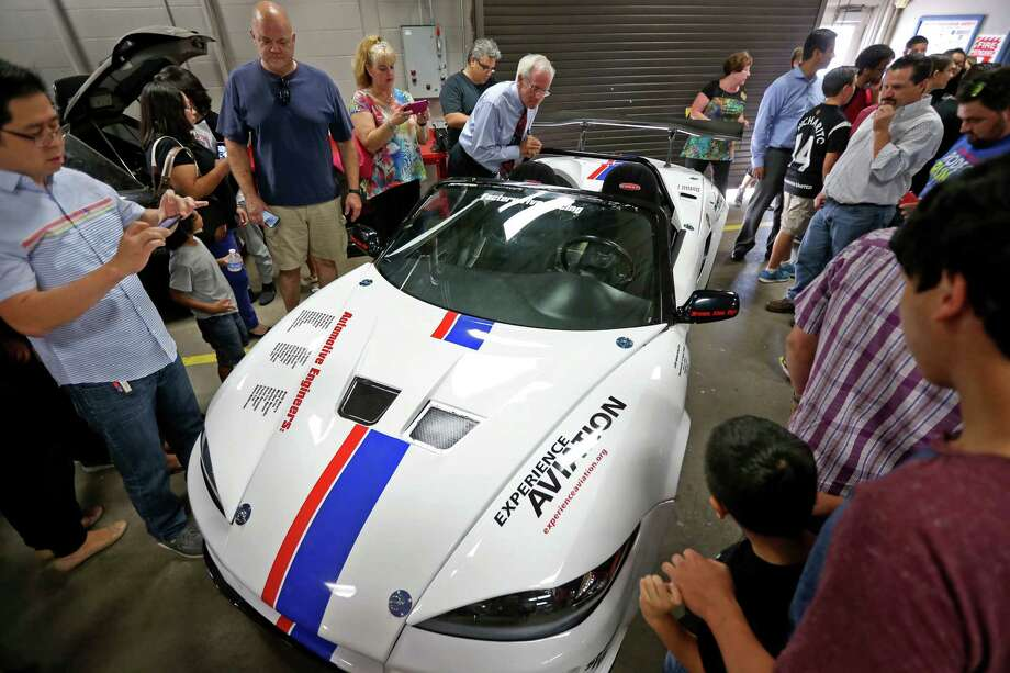 A Factory Five 818 kit car built by thirty-one incoming freshman, who participated in the Build and Soar summer program, is unveiled to family and Lamar Consolidated Independent School District officials at Lamar Consolidated High School Tuesday, Aug. 18, 2015, in Rosenberg, Texas. The car was built from parts donated from a 2002 Subaru WRX. Photo: Gary Coronado, Houston Chronicle / © 2015 Houston Chronicle
